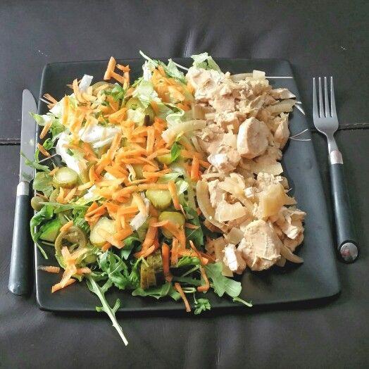 Fanta lemon chicken and salad. Slimming world
