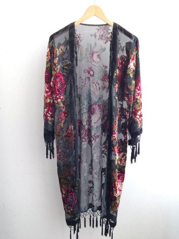 Black Kimono Gypsy , Silk Burnout Women Boho Fringe Floral Kimono Cardigan…