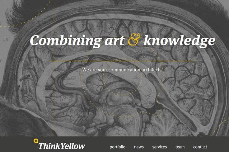 """Ook de huisstijl van het Antwerpse communicatie bureau Think Yellow spreekt me aan. De slagzin """"we are your communication architecten"""" in combinatie met de achtergrond afbeelding vind ik zeer geslaagd. Het cursieve lettertype is ook eens iets anders.."""