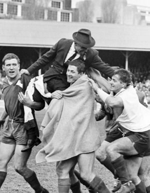 Coaching days: South Sydney coach Clive Churchill is chaired off the field by teammates after Souths won the 1967 rugby league grand final 12-10 against the Canterbury Bulldogs at the SCG.