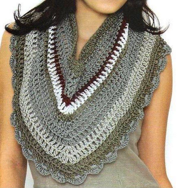 Free Crochet Scarf Patterns Australia : Tour de cou dans les tons de gris , orne dune bordure ...