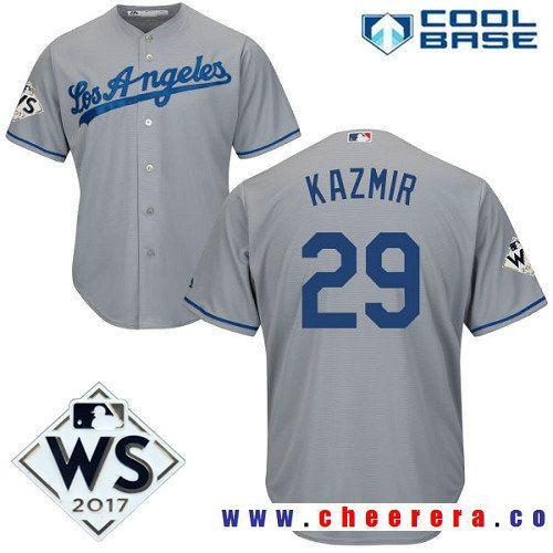 Men's Los Angeles Dodgers #29 Scott Kazmir Gray Road 2017 World Series Patch Majestic Cool Base MLB Jersey
