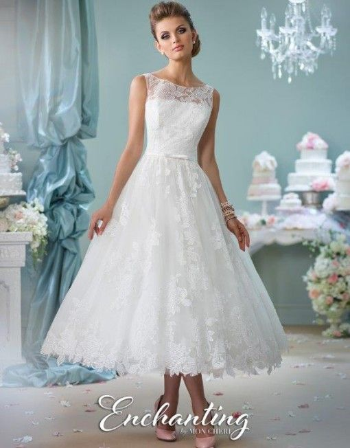 18 best Tea Length Dresses images on Pinterest | Short wedding gowns ...