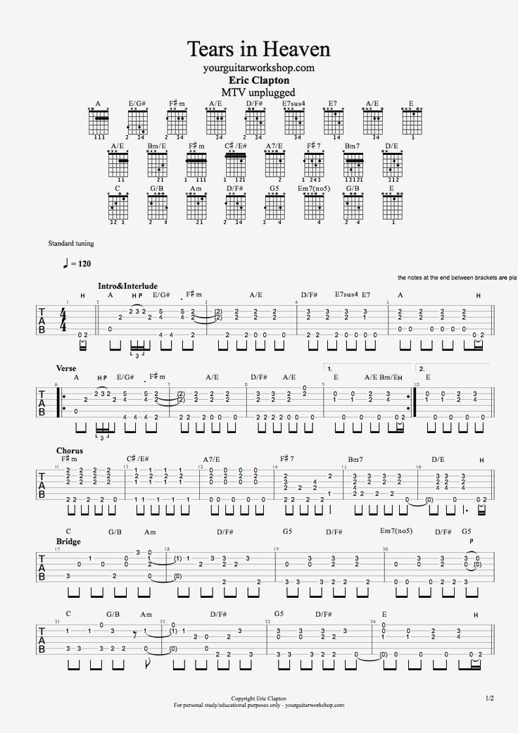 Guitar Tab: Tears in Heaven Unplugged - Eric Clapton | Your Guitar Workshop - Total Guitar Experience! - Online Guitar Lessons & Backing Tracks