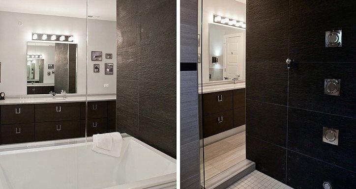 Kitchen cabinets utilized in a bath vanity application. Manufacturer-Arrital