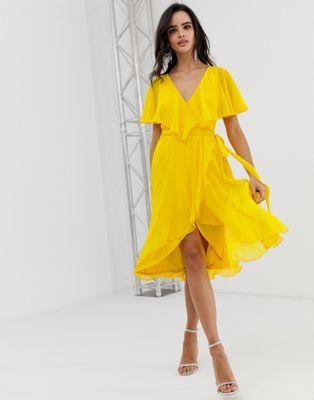 577797180f DESIGN cape back dipped hem midi dress in 2019