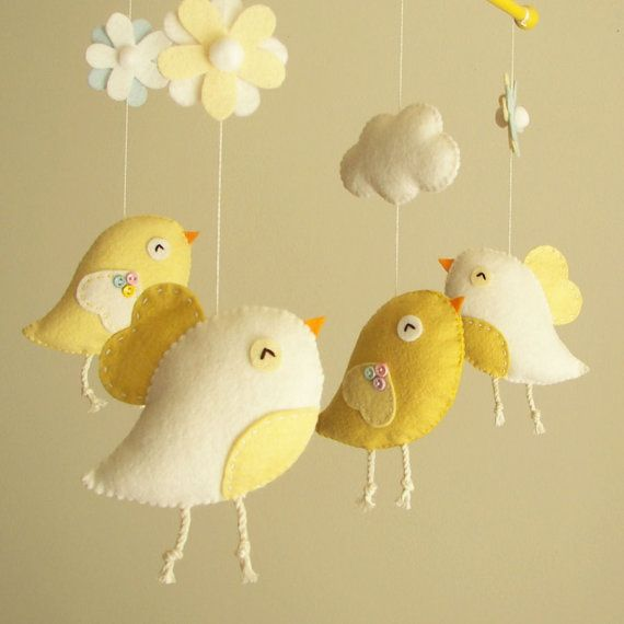 "Baby crib mobile, Bird mobile, felt mobile, nursery mobile, baby mobile, girl mobile ""Bird - yellow"" on Etsy, $80.00"