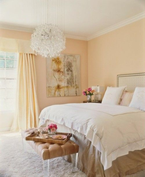 Pastel peach wall color for the home pinterest for Peach bedroom decor