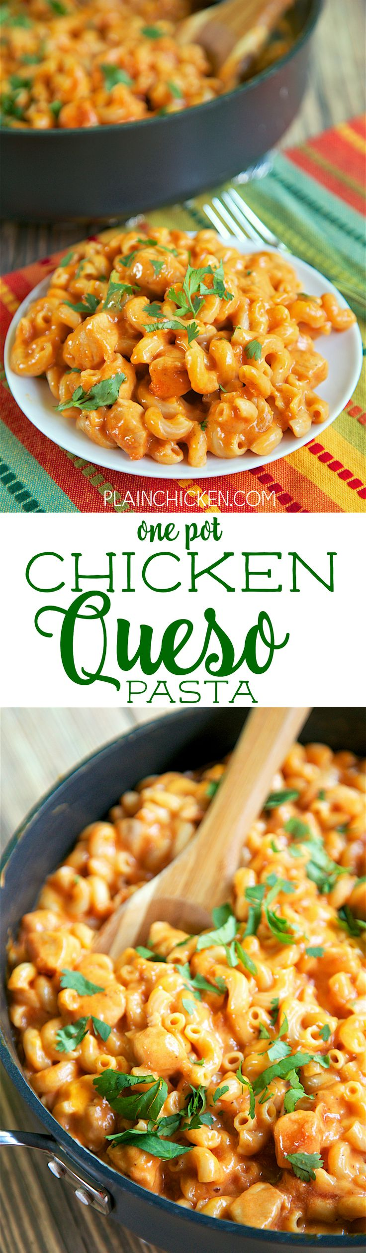 One Pot Chicken Queso Pasta - everything cooks in the same pan, even the pasta! Only 6 ingredients! Chicken, taco seasoning, chicken broth, salsa, pasta and velveeta. Everyone cleaned their plates! Quick, easy Mexican recipe that is ready in 20 minutes!
