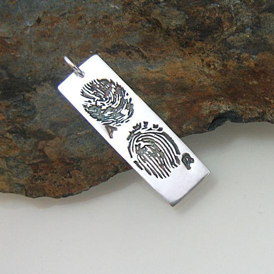 Sterling silver fingerprint pendant tag