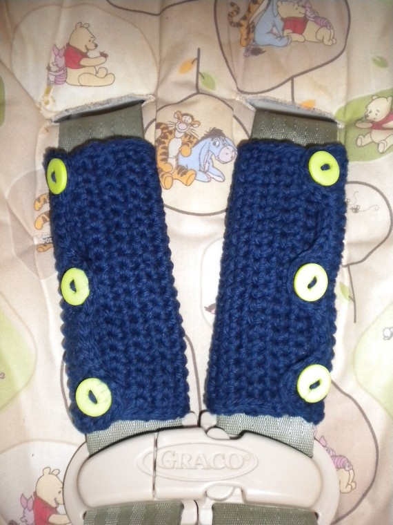 Crocheted Car Seat Shoulder Strap Covers By