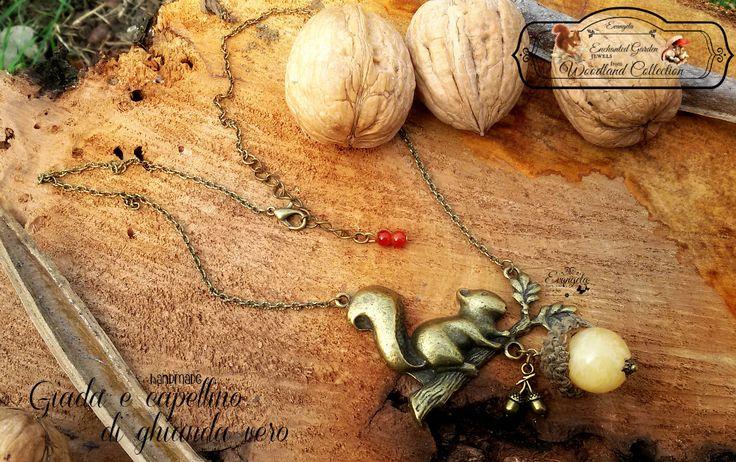 Collana scoiattolo ghianda giada bronzo, by Evangela Fairy Jewelry, 13,00 € su misshobby.com