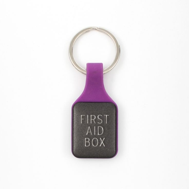 Square Keychain - Purple and Black - A versatile keychain that is perfect for engraving a name or personal message. It has a purple pvc body and a black space on each side for engraving.