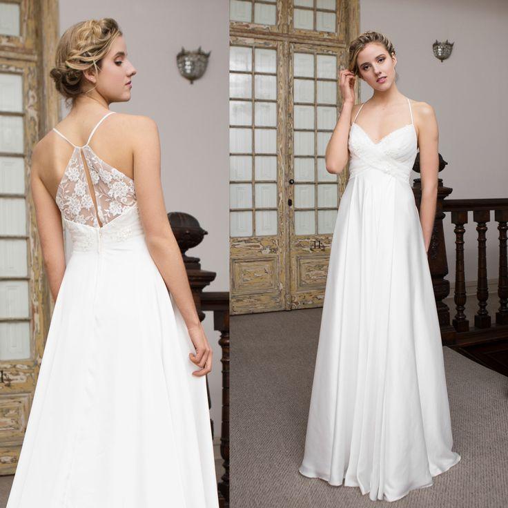 Vestido de novia minimal de gasa seda · Silk minimal wedding dress - www.santoencanto.cl/vestidos-de-novia/