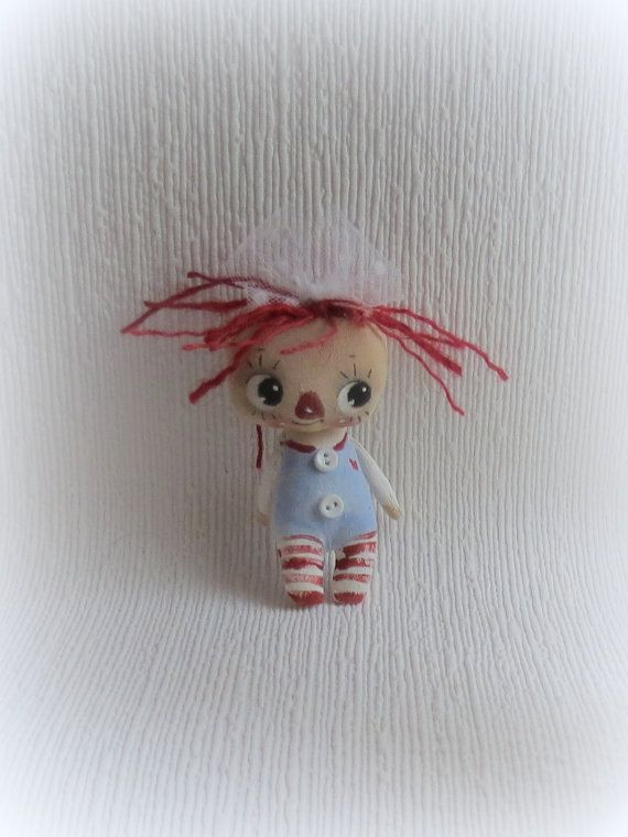 Teeny tiny Raggedy Anne baby  cloth doll hand by suziehayward, $34.00 Sold