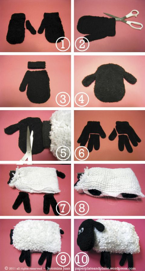 car mitt sheep plush process