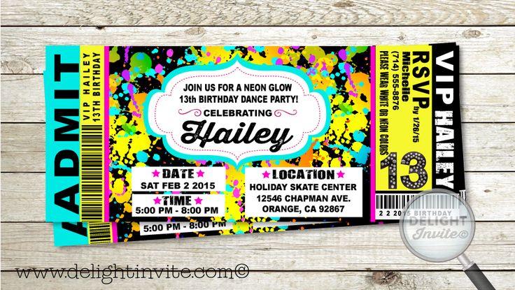 VIP Ticket Neon Glow Birthday Party Invitation                                                                                                                                                      Más
