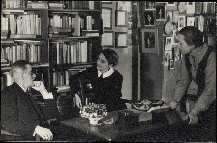 James Joyce with Sylvia Beach and Adrienne Monnier at Shakespeare & Co. From: Eugène and Maria Jolas Papers. ca. 1920. Beinecke Rare Book and Manuscipt Library, Yale University.