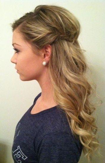 wedding hair option   half up style - wavy curls with side twist.