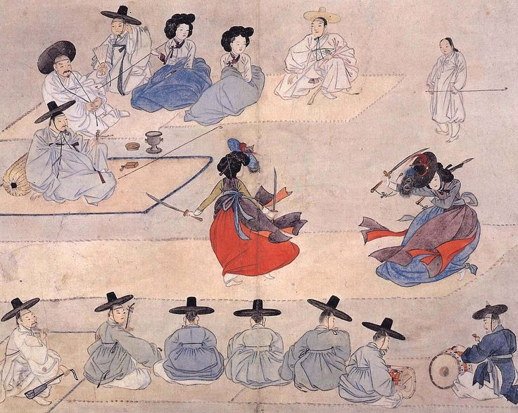Dancing together with two swords (《쌍검대무》 or 《雙劍對舞》), from Hyewon pungsokdo (《혜원풍속도첩 》or《蕙園風俗圖帖》) by 18th century Korean painter Shin Yun-bok (신윤복or 申潤福), also known by his pen name Hyewon (혜원 or 蕙園).