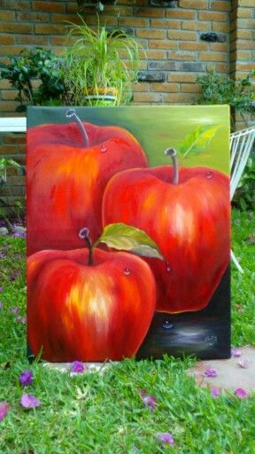 Oil painting of apples, great idea for kitchen art.