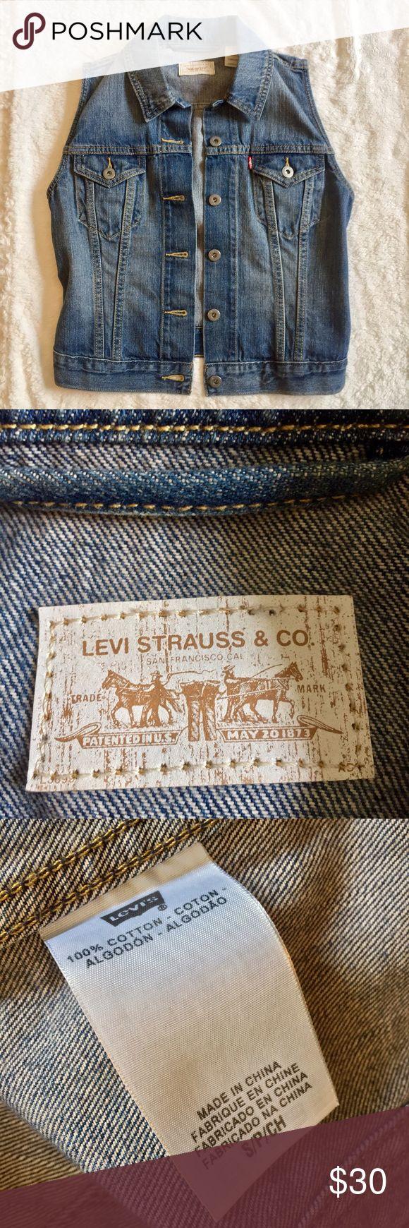 Levi's Vest • Levi's denim vest • Features Levi's trademark tag on upper right pocket  • Adjustable back buttons  • 100% cotton Levi's Jackets & Coats Vests