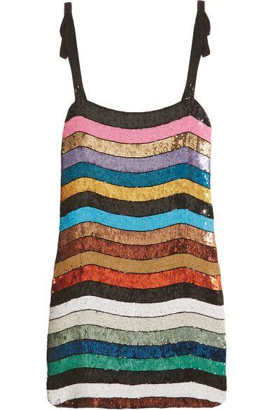Attico - Sabrina Sequined Georgette Mini Dress - Black - 2