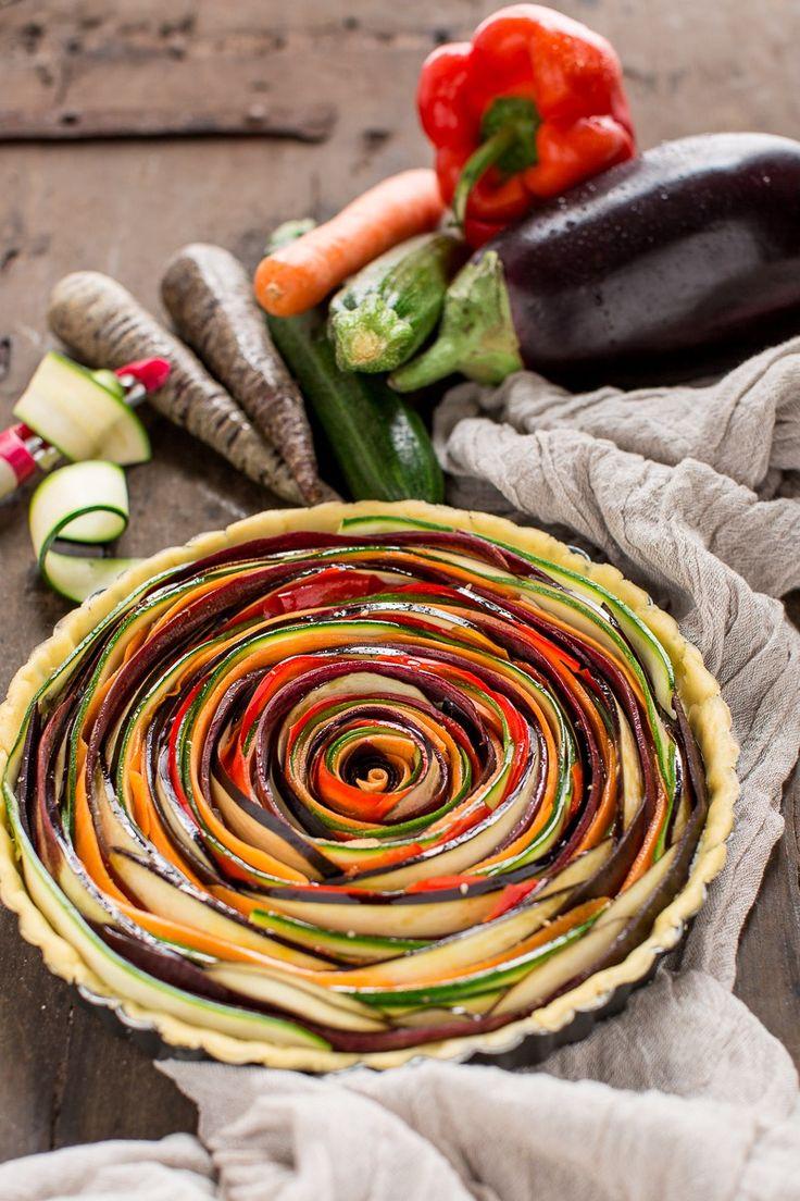 torta salata di verdure a spirale senza glutine senza uova senza burro vegan con zucchine melanzane carote | vegan #glutenfree vegetable spiral tart recipe