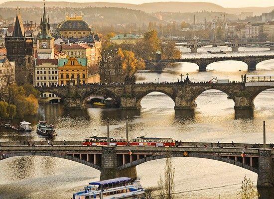 five bridges in Prague, Czech Republic