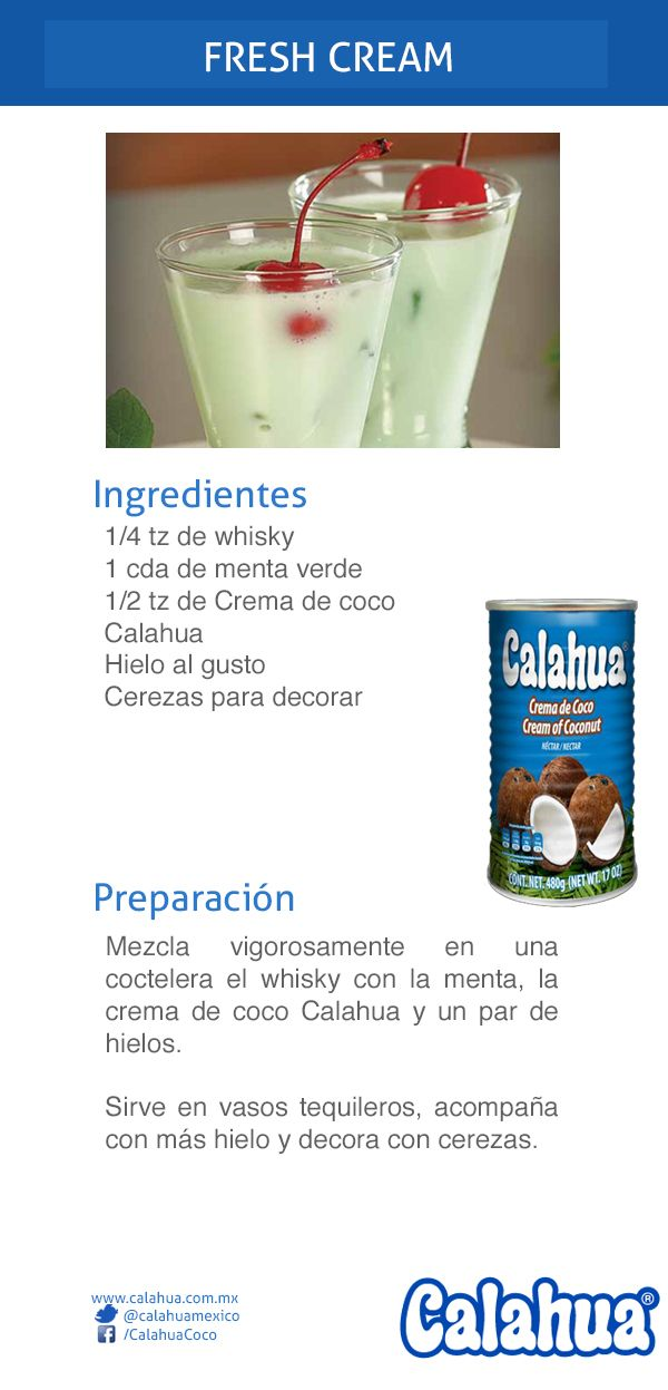 Refresca tu paladar con este coctel hecho con menta y Crema de coco Calahua: Fresh Cream.