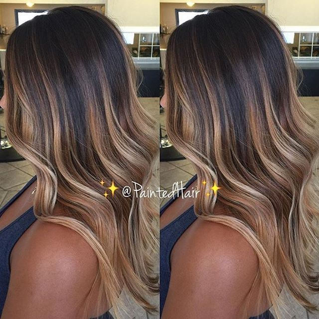 /paintedhair/ created the ultimate dark chocolate caramel balayage goals with creamy tips #modensalon