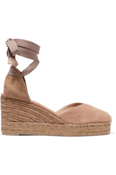 Wedge heel measures approximately 60mm/ 2.5 inches with a 20mm/ 1 inch platform Sand and taupe canvas Ties at ankle Imported