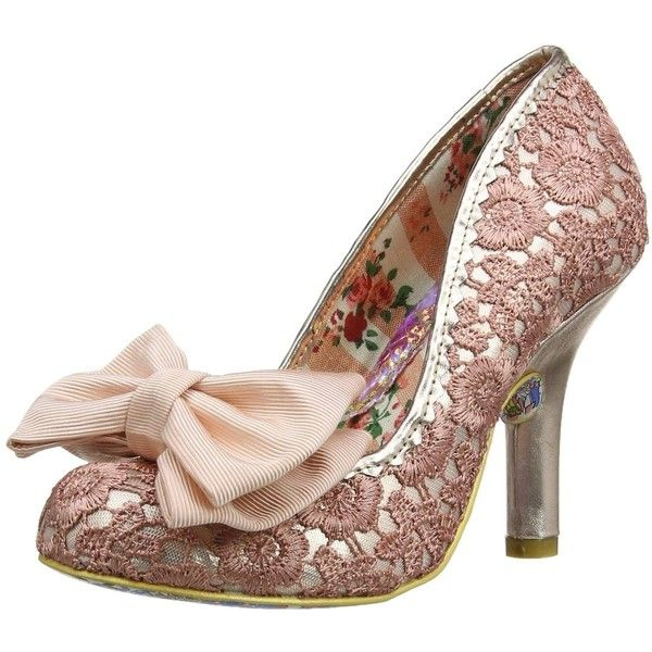 Irregular Choice Mal E Bow Pink Gold Womens Hi Heels Court Shoes ($120) ❤ liked on Polyvore featuring shoes, pumps, irregular choice, heel pump, bow pumps, bow shoes and rose gold pumps