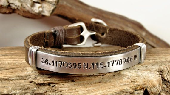 FREE SHIPPING - Men's Personalized Bracelet, Men's Leather Bracelet, Aluminium Plate and Aluminum Wire, Anchor Clasp, Men Bracelet on Etsy, $42.00