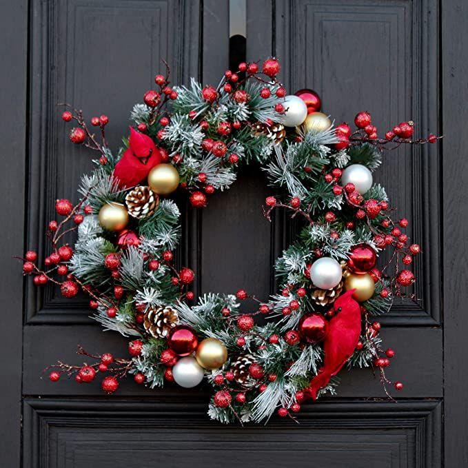 Cardinal Bird Wreath Christmas door wreath Holiday Decor Christmas Decor Christmas wreath Holiday Wreath Wreath for Christmas