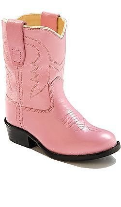 Toddler Pink Leather Cowboy Boots