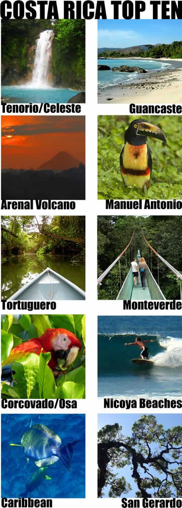 The Best of Costa Rica - recommended top ten must see destinations plus a few honorable mentions in case you'd like to get off the beaten track.  It would take months to exhaust all the really amazing destinations in Costa Rica so you'll probably have to