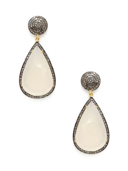 Karma Jewels Cognac Diamond Disc & White Moonstone Teardrop Earrings