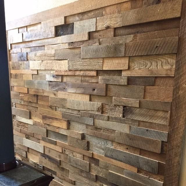 Reclaimed Barn Wood Stacked Wall Panels | For the Home ...