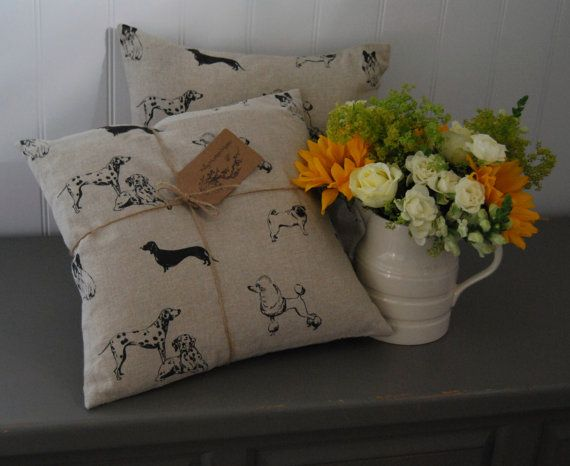 "Hand Made Linen ""Pooches"" Cushion by Hilly Horton Home"