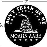 "4-Pack--Don't Tread on Me, Molon Labe (COME AND TAKE THEM!) gadsden, Patriotic Black Hat Hardhat Motorcycle Helmet Decal Sticker Placard 2""W X 2""H"