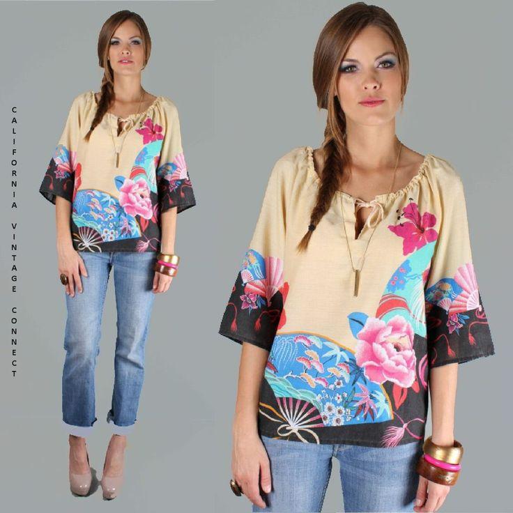 vtg 70s Floral Hippie FLYING CRANE Nautical Festival Dress TOP shirt blouse M-L