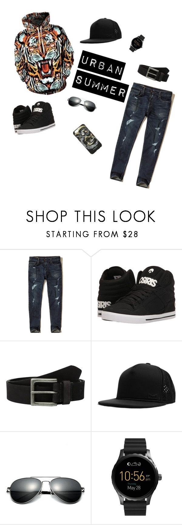 """Urban Summer"" by breezeshirt on Polyvore featuring Hollister Co., Osiris, Timberland, MELIN, FOSSIL, Marcelo Burlon, men's fashion, menswear, GetTheLook and StreetStyle"