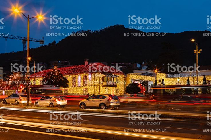 Bogota, Colombia: Light trails and Christmas lights on the Andes royalty-free stock photo