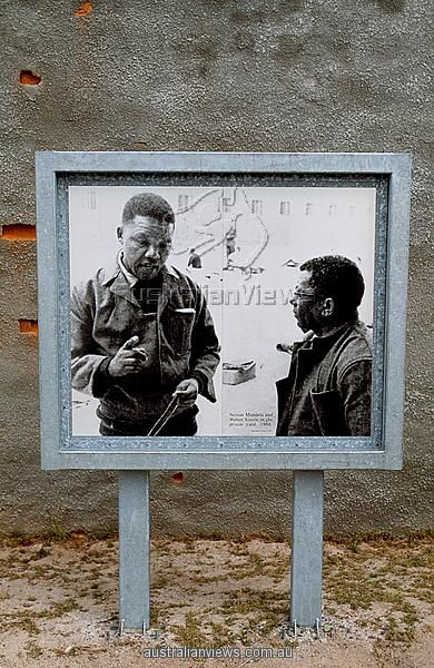 South Africa Western Cape Robben Island picture of Nelson Mandela and Walter Sisulu
