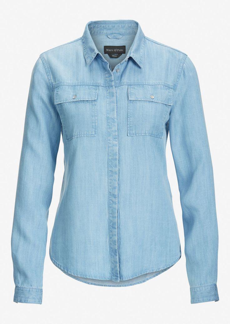 MARC O'POLO, Damen, Bekleidung, Blusen, Jeans-Bluse, in fließender Qualität