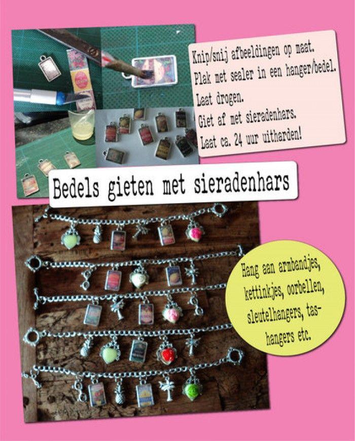 Giet zelf leuke bedels en hangertjes met foto's of zomaar leuke knipsels en maak er sieraden van met sieradenhars!!!