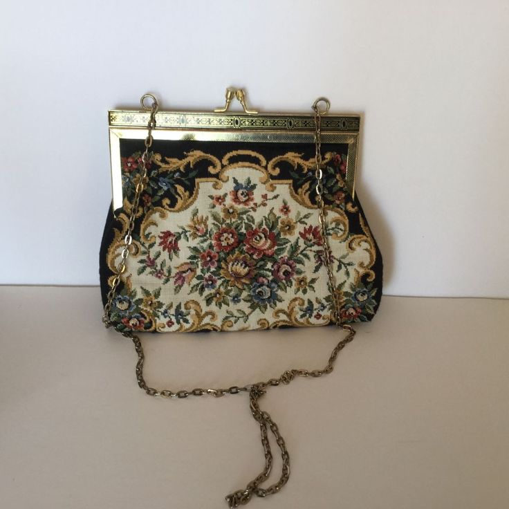 Victorian Tapestry Design Evening Purse Gold Chain #Unbranded #EveningBag
