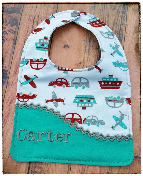 Cute Personalized Boys Bib / Cars Boats Planes by MooMoosBowtique