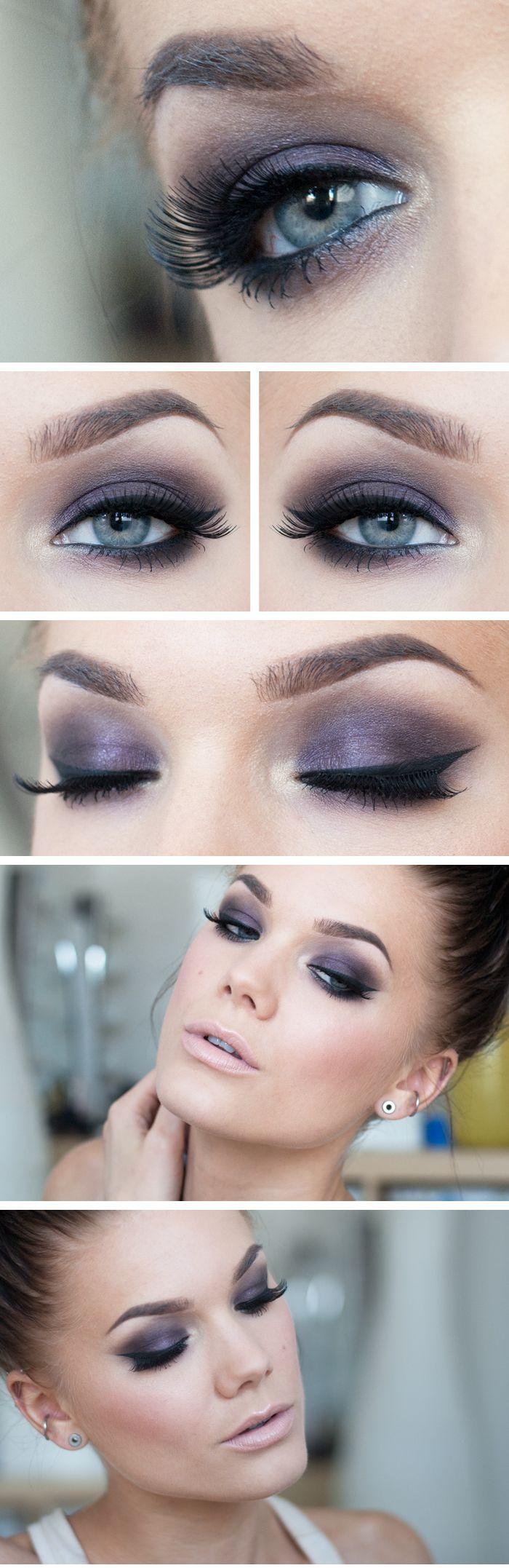 "Linda Hallberg ""Purple Smoke"" | Shimmery purple smoky eyes and ultra nude"